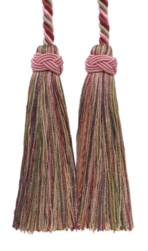 Cherry Beige Green 4 Double Tassel Tieback Berry Parch [Invidual]