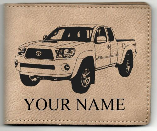 Toyota Tacoma Leather Billfold With Drawing /& Your Name On It-Nice Quality