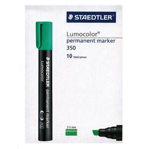 Staedtler-Lumocolor-ROTULADOR-PERMANENTE-350-5-punta-plana-Verde-Caja-de-10