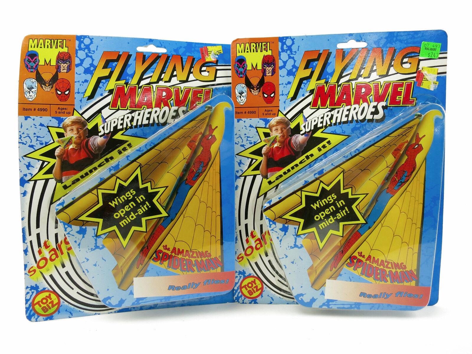 Lot of 2 1991 Toybiz Flying Marvel Super Heroes NEW Amazing Spider Man Toy Plane