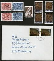 SCHWEDEN 1975,  13 Marken gestempelt + 4 Bedarfsbriefe