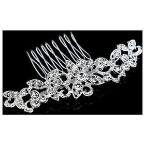 Wedding-Bridal-Hair-Comb-Clip-Crystal-Rhinestone-Diamante-Flower-Silver-O6E9