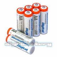 Aa Nimh Ni-mh Rechargeable Battery 1600mah Batteries Pack Count X 8