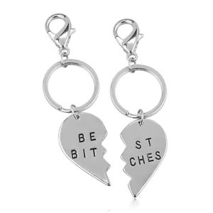 2 Lux Accessories Best Bitches BFF Best Friends Forever Matching Keychain Set
