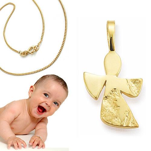moderner fliegender Baby Kinder Schutzengel mit Kette Echt Silber 925 vergoldet