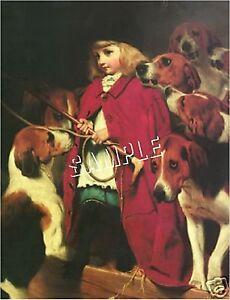 VICTORIAN FOX HUNT GIRL & FOXHOUNDS *CANVAS* ART PRINT