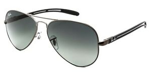 ray ban aviator matte black  Ray Ban Aviator Carbon Fibre RB 8307 029/71 Matte Gunmetal + Gray ...