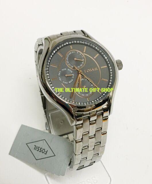 Fossil Silver Tone Rose Gold Crystal Multifunction Bracelet Watch Bq3165ie