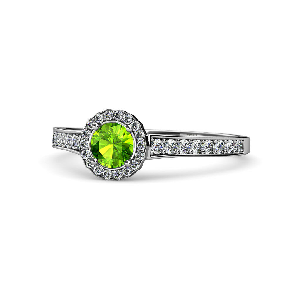 Peridot and Diamond Halo Engagement Ring 0.99 Carat tw 14K gold JP 68204