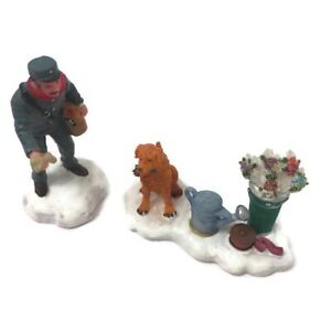 Christmas Village Accessories.Details About Christmas Village Accessories Mailman Giving Dog A Bone Figurine Set O Well
