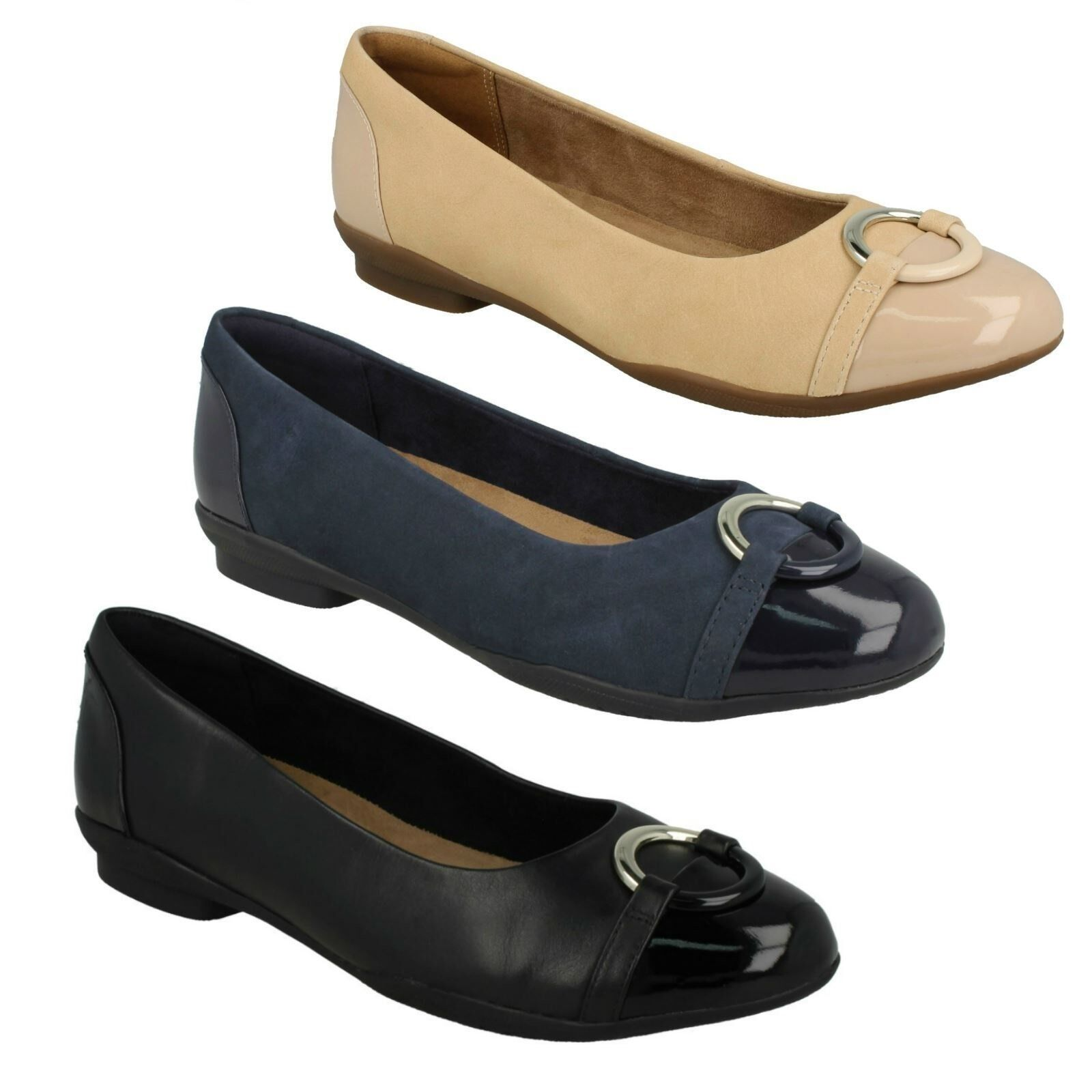 LADIES CLARKS UNSTRUCTURED LEATHER SHOES SLIP ON FLAT BALLERINA SHOES LEATHER NEENAH VINE 2da318