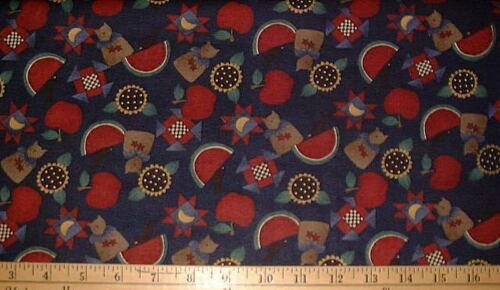 BTHY Cats Watermelons Apples /& Sunflowers on Navy DEBBIE MUMM Fabric
