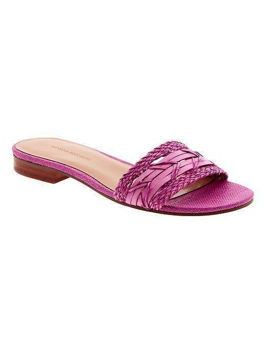 NEW BANANA REPUBLIC Womens Ohana Slide Sandals Shoes $79 Flats Pink Woven 5.5 $79 Shoes a72c12