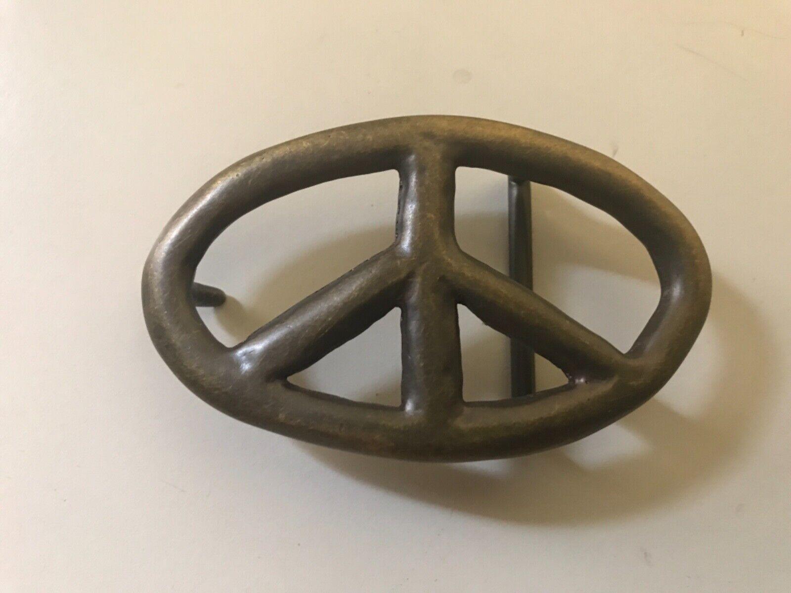 Solid Brass vintage oval unisex Peace Sign belt buckle .Handmade aesthetic.