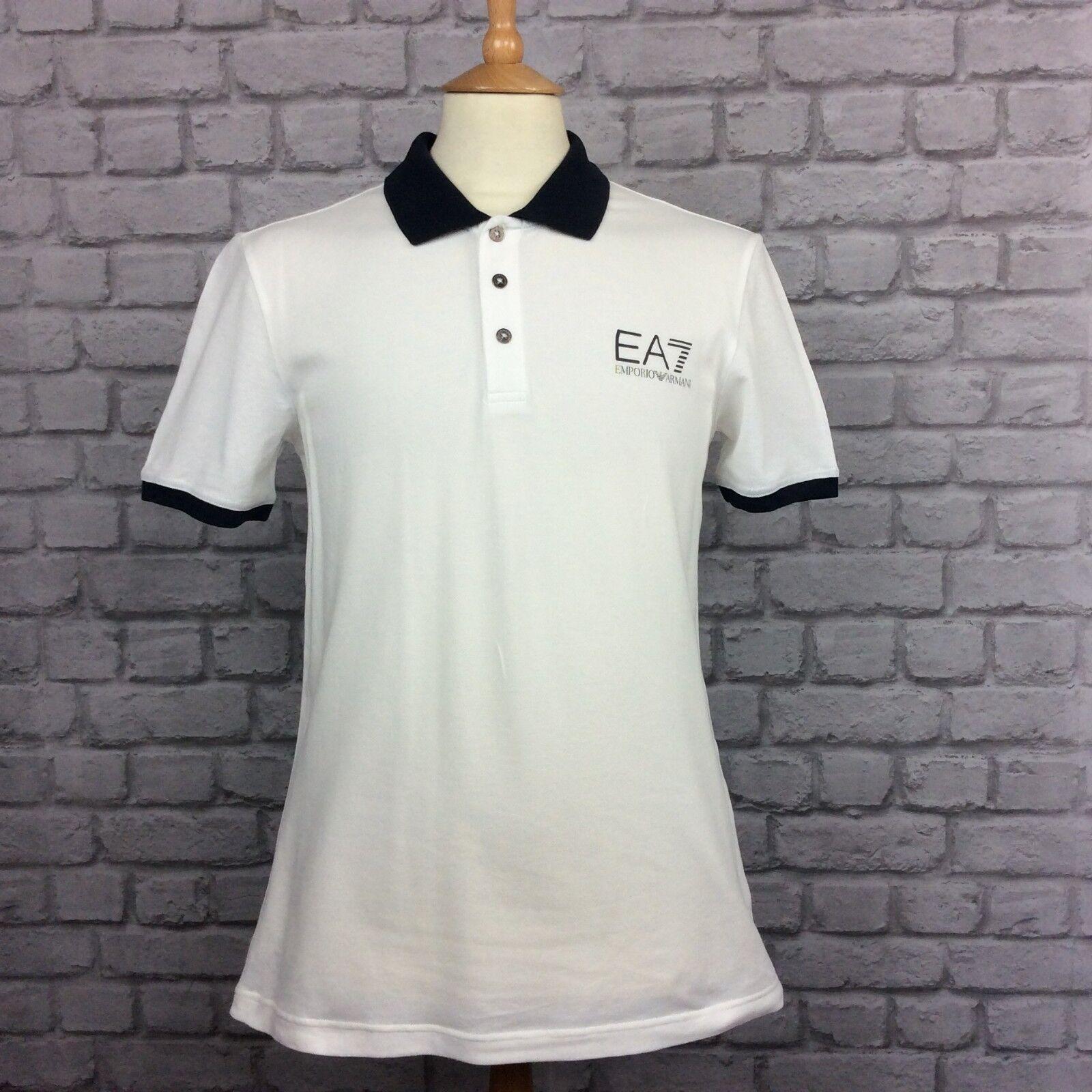EA7 EMPORIO ARMANI DA UOMO UK XL Bianco a Maniche Corte Polo Di Marca Casual