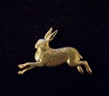 Leaping Hare Rabbit Pewter Pin Brooch in Gift Box Handcrafted Bunny Present