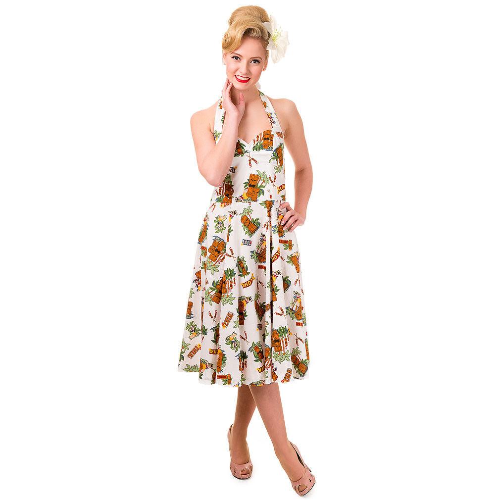 df99a4614f278 Banned Vintage Rockabilly Swing 50er-Jahre Hawaii Kleid - Aloha Tiki Strand  Weiß