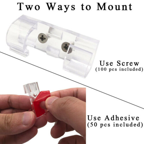 New 50ct Clear Heavy Duty Multipurpose Self-Adhesive Cord Organizer Cable Clips