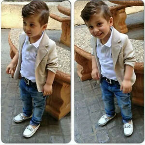 9163b6a6 3PCS Baby Boys Gentleman Outfit suit Coat+T Shirt+Denim pants Kids ...