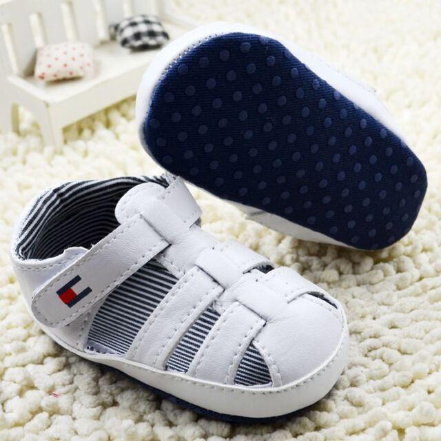 Toddler Baby boy White Sandals crib shoes Size Newborn to 18 Months