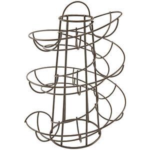 Space Saving Modern Design Egg Skelter Organizer Rack Metal Brown Stand Holder