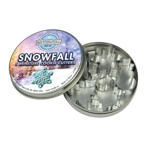 1986 Mini Snowfall Snowflakes Tree /& Snowman 5 Piece Steel Cookie Cutter