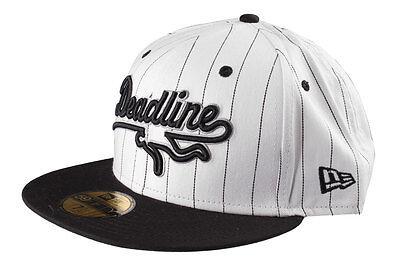 Deadline Sports Logo Pinstripe Fitted New Era Hat Cap White