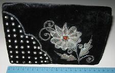 Cluch Vintage anni '50 - velluto ricami argento e perline - BELLA!