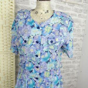 Vintage-Ditsy-Floral-Algodon-Te-Vestido-Boho-Festival-Grunge-Camisa-Vestido-M-D821