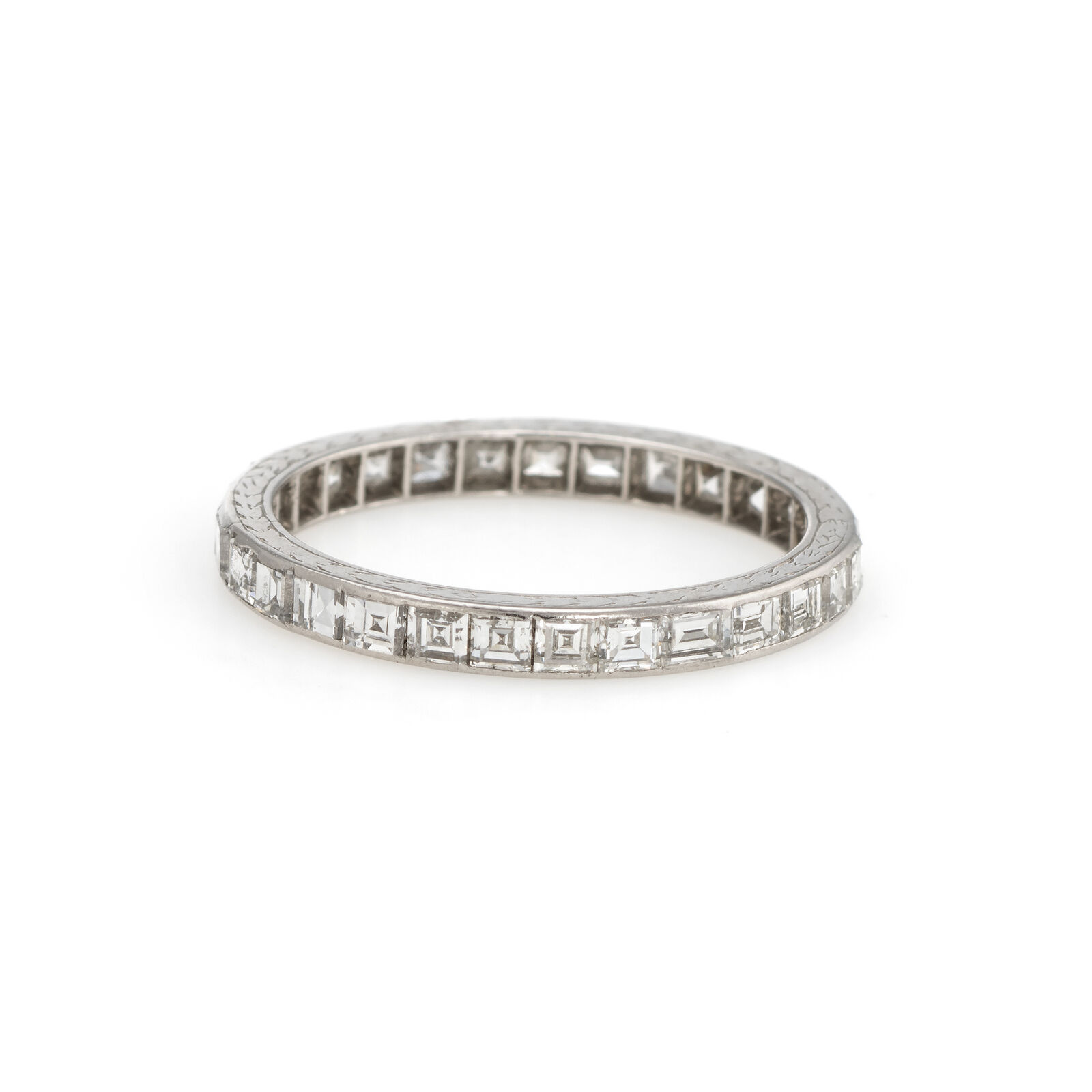 Antique Deco Carre Diamond Eternity Ring Platinum Sz 5.75 Vintage Fine Jewelry