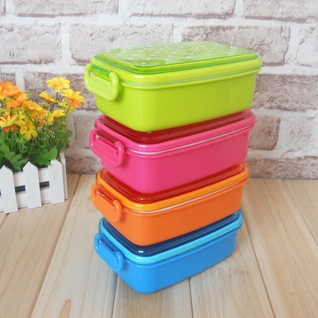 NEW Plastic Lunch Box Bento Box for Kids Lunch Food Container 480ml BPA Free