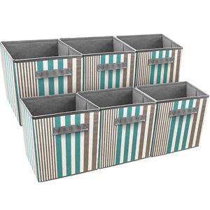 Sorbus-Foldable-Storage-Cube-Basket-Bin-6-Pack-Vertical-Stripe-Pattern-Aqua