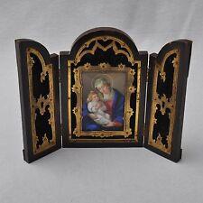 KPM Berlin kleiner Reisealtar Porzellan Gemälde Mutter Gottes mit Kind, 1845