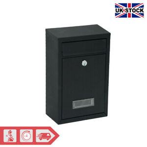 Steel Square Wall Mounted Mailbox Letterbox Lockable - Black