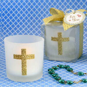 25-96-White-Frosted-Glass-Cross-Votive-Candle-Religious-Baptism-Wedding-Favors