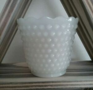 "Vase Vintage Fire King Anchor Hocking Hobnail White Milk Glass 4.25/"" Planter"