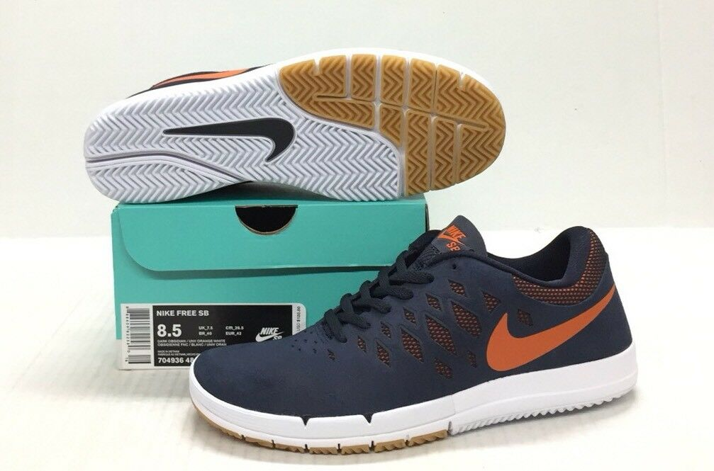 24a33f5ed02d NIKE SB FREE DARK OBSIDIAN   UNIVERSITY ORANGE - - - WHITE 812182 ...