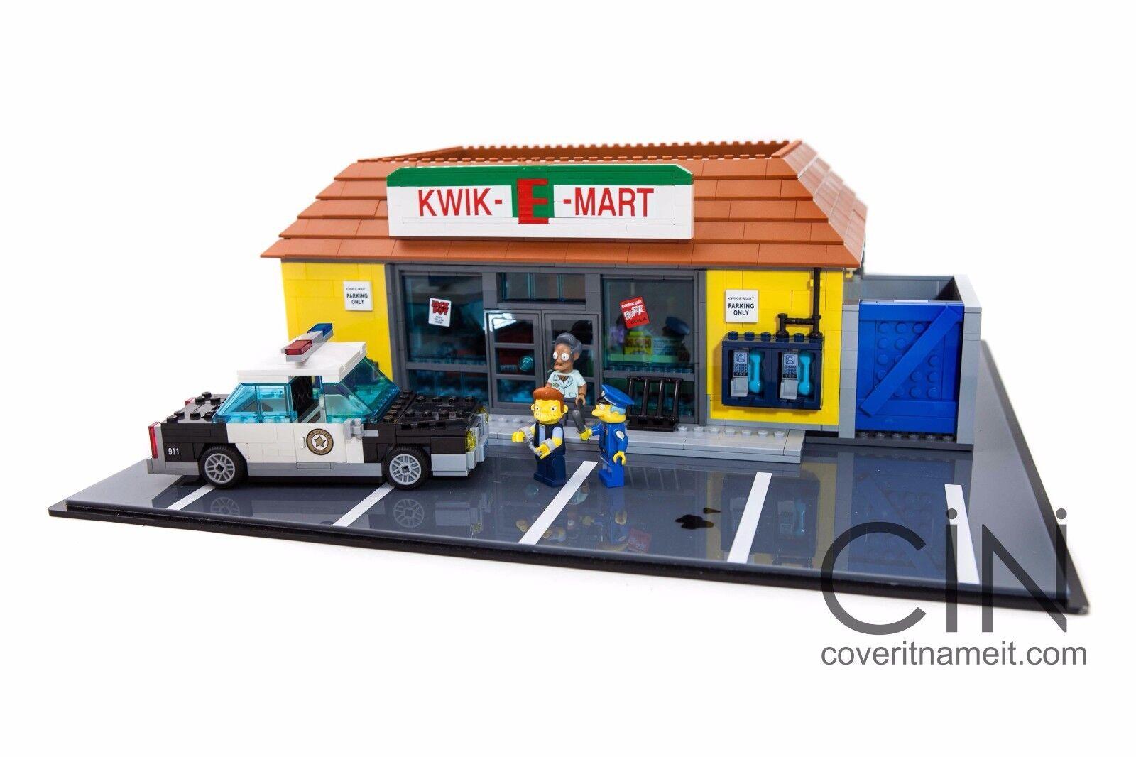 Simpsons Lego Kwik E Mart Display Base & Case Acrylic box Perspex Model 71016