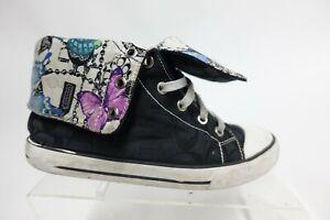 COACH High-Top Canvas Black Sz 7 B Women Butterfly Sneakers