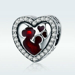 925-Sterling-Silver-Bead-Heart-Charm-with-CZ-For-Great-Mother-039-s-Bracelet-Jewelry