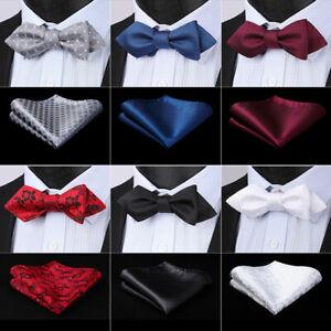 HISDERN-Men-039-s-Solid-Floral-Wedding-Diamond-Tip-Self-Bow-tie-amp-Pocket-Square-Set