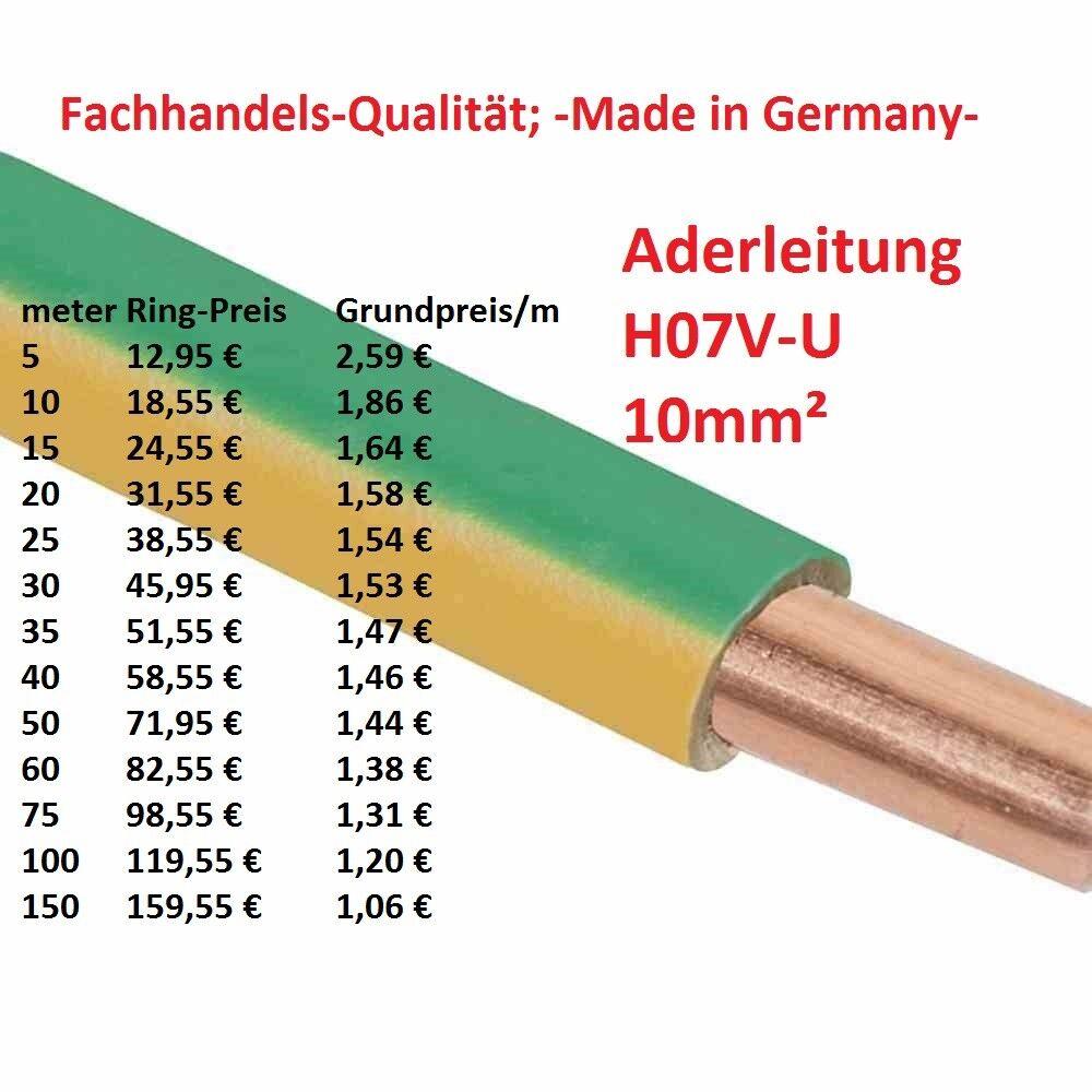 H07V-U 10 mm² Aderleitung Erdungskabel Erdungsleitung Erdung starr grün   gelb  | Fierce Kaufen