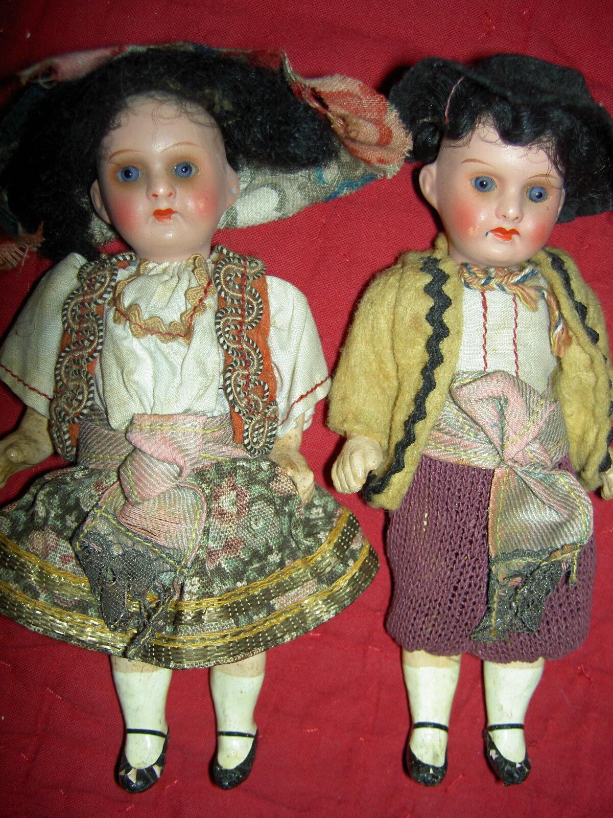 Adorable Par, articulado muñecas antiguas bisque 1920s alemán, trajes Original XLNT