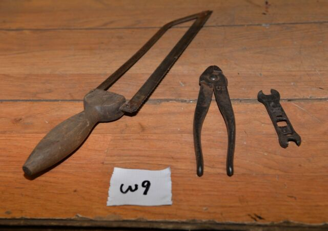 WWI Gunner tool US marked fuse pliers civil war bone saw collectible military W9