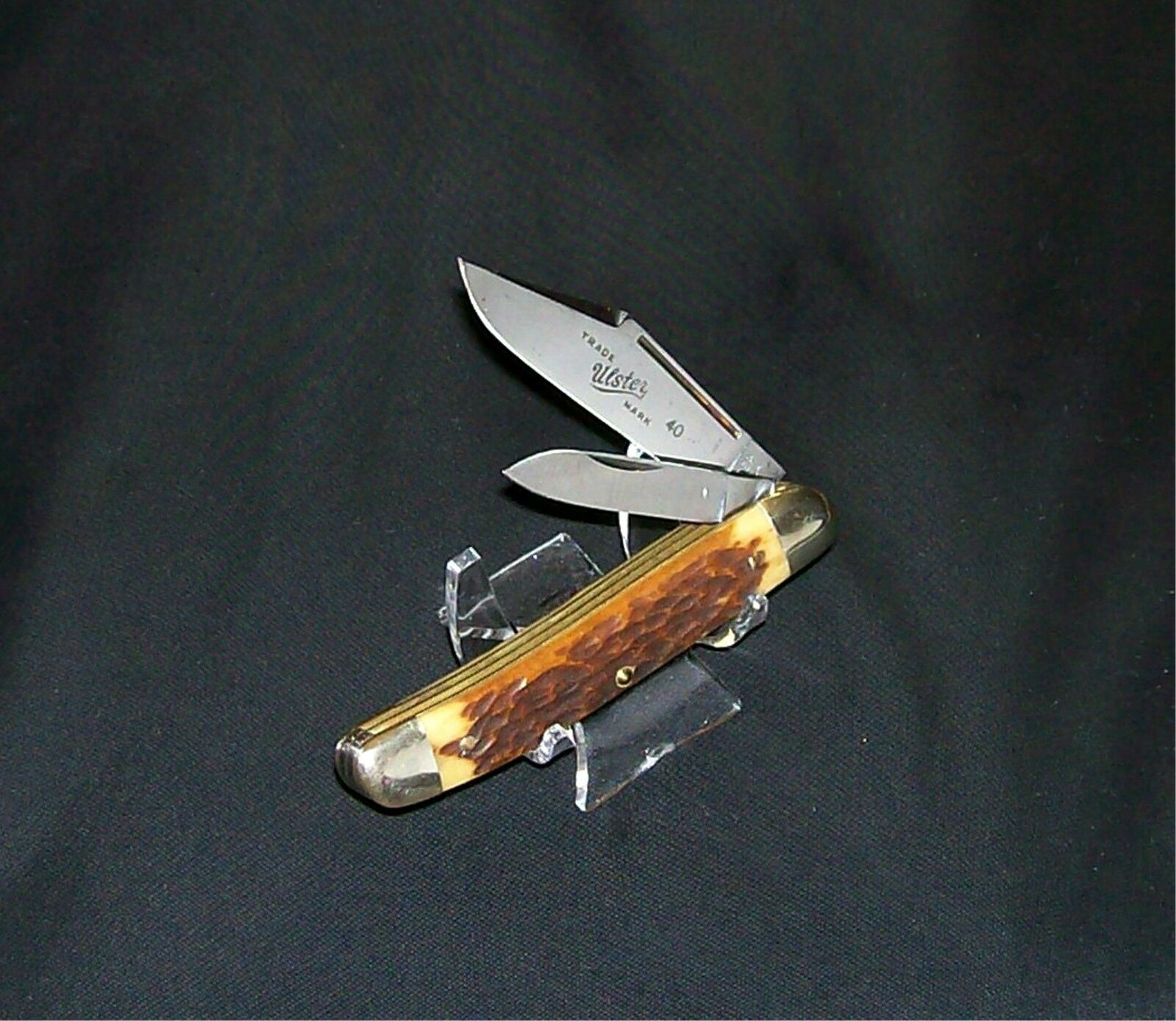 "Ulster 40G Jack Knife USA Rogers Green Bone 3-1/2"" Closed Circa-1950 Rare Piece"