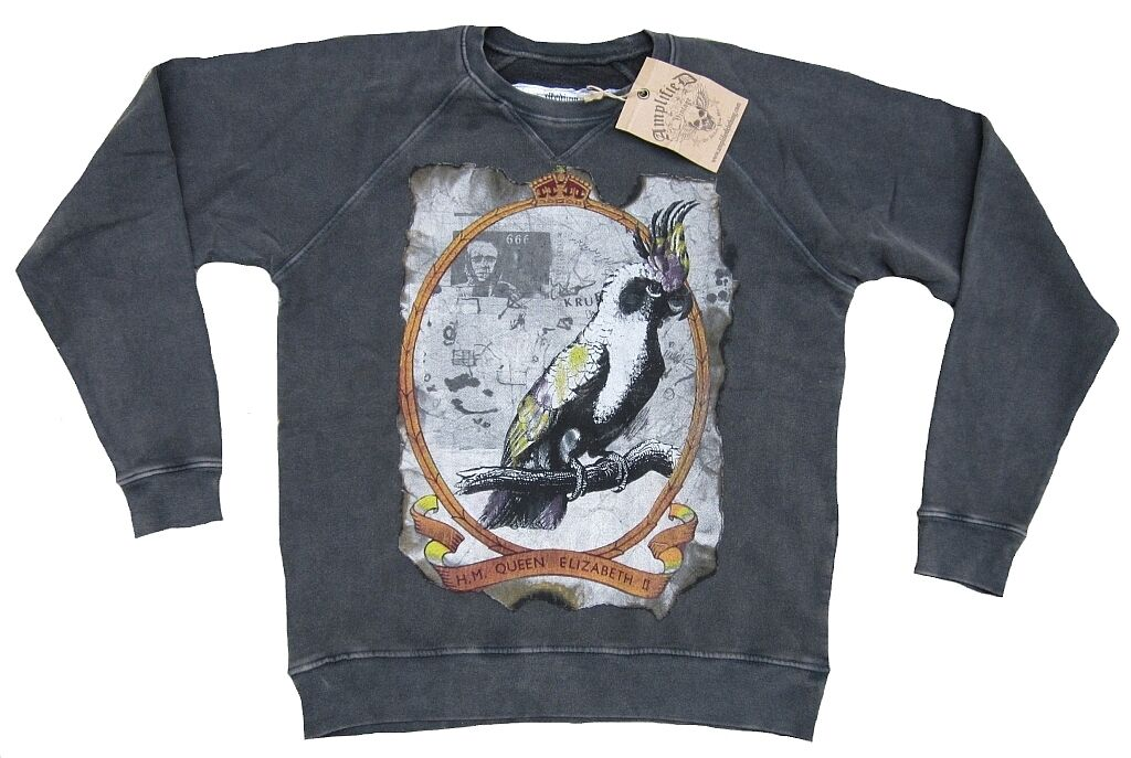 Amplified Vintage H.M. Queen Elizabeth II Papagei Postcard Pulli Sweat Shirt M