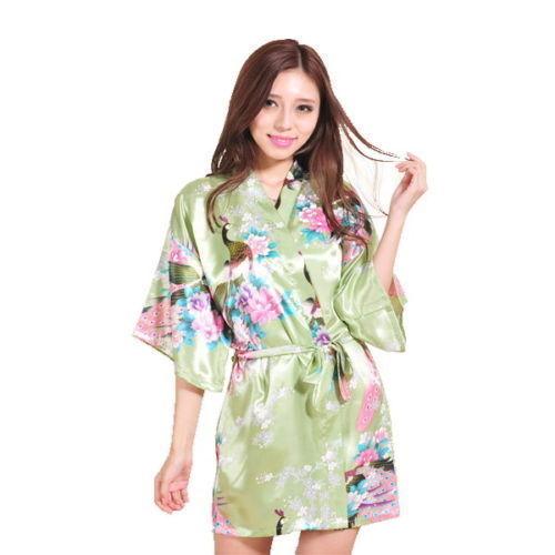 2019 Short Bride Bridesmaid Silk stain Wedding Robe Women Floral Bathrobe Kimono