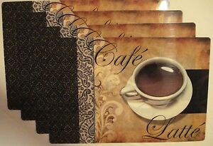 Coffee Print Cafe Latte Kitchen Decor Printed Vinyl/ Plastic Placemats set of 4