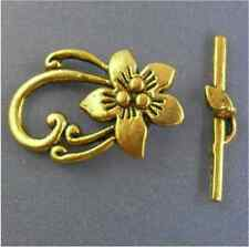Free Ship 3Sets Gold Plating Flower Toggle Clasps Fit Bracelet Jewelry Making