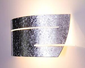 Lampada da parete applique design moderno metallo argento bianco